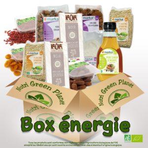 Boîte de produits bios pour préparer des collations saines et remplies d'énergie