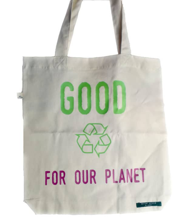 Sac shopping 100% recyclé blanc Good For Our Planet 2