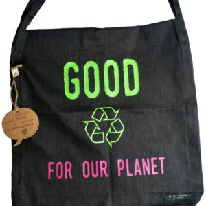 Sac shopping 100% recyclé noir Good For Our Planet2