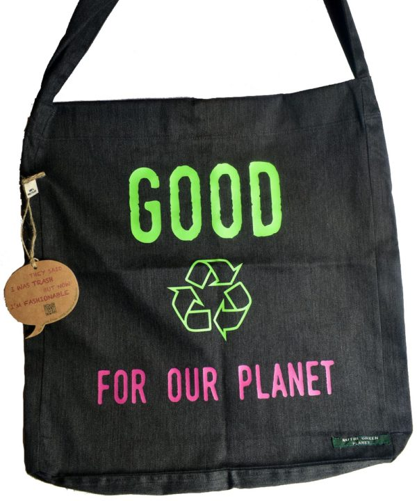 Sac shopping 100% recyclé noir Good For Our Planet2