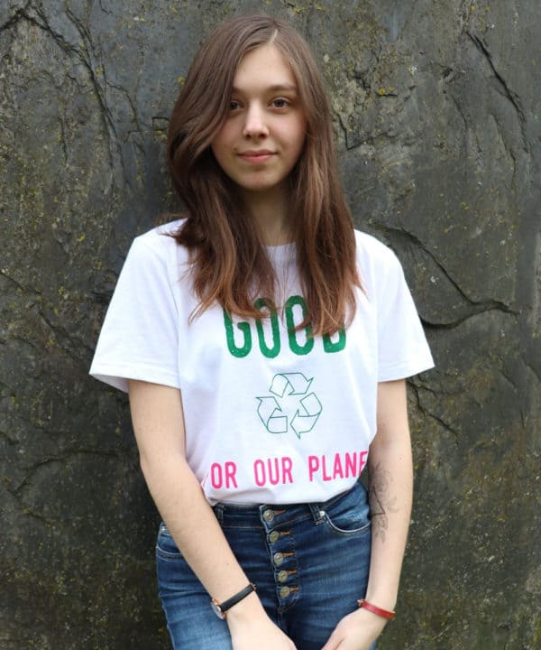 T-shirt 100% recyclé unisexe blanc Good For Our Planet 22