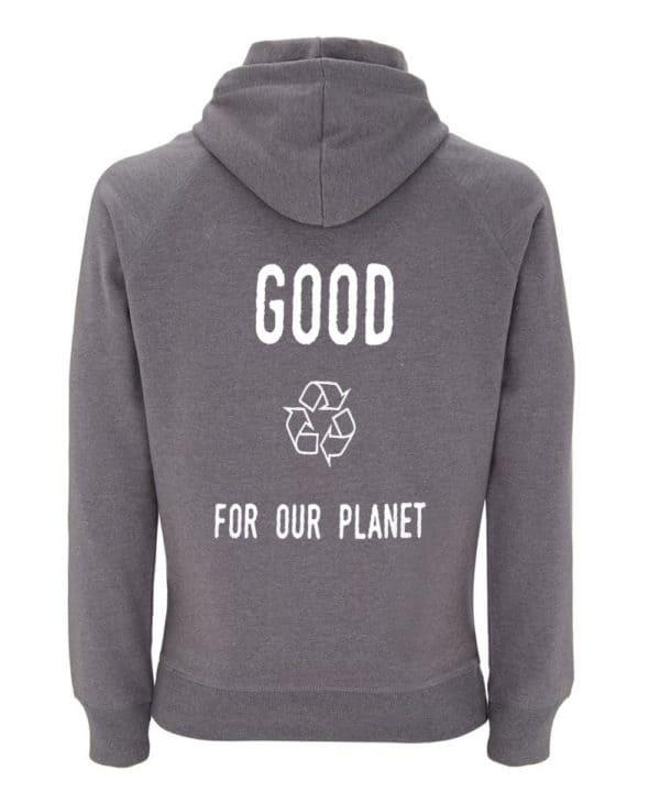 Sweatshirt gris 100% recyclé unisexe Good For Our Planet2