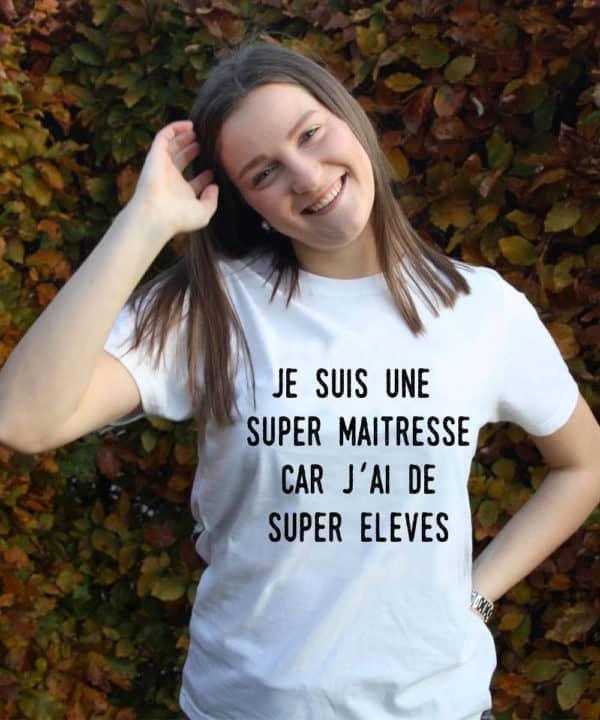 T-shirt personnalisé 100% recyclé unisexe blanc maitresse