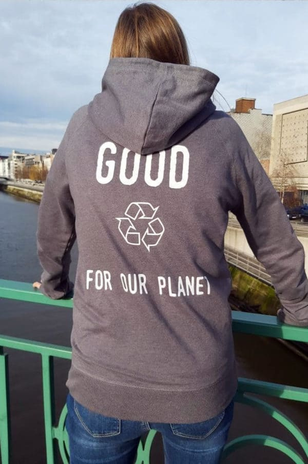 Sweat à capuche gris 100% recyclé unisexe Good For Our Planet10